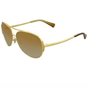 Coach Sunglasses Gold w/Brown/Gold Mirrored Lens